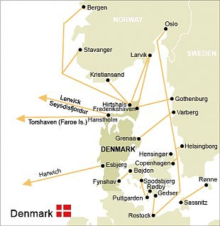 Denmark Ferries Route Map