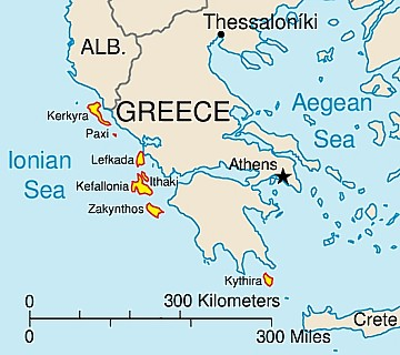 Map of Ionian Islands Ferry Routes