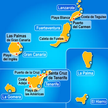 Map of Canary Island Ferry Routes