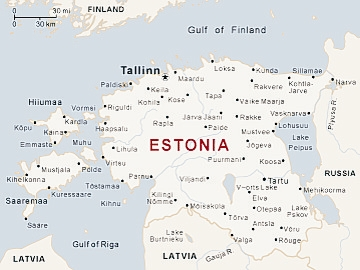 Map of Estonia and Tallin Ferry Routes