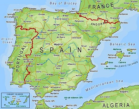 Map of Spain Ferry Routes